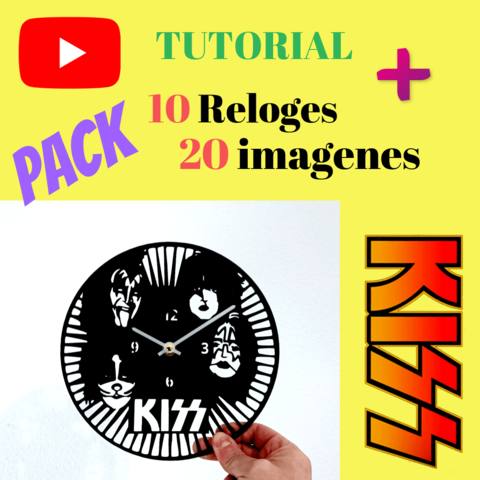 Descargar modelo 3D Tutorial vinilo reloj de pared KISS, 3dlito
