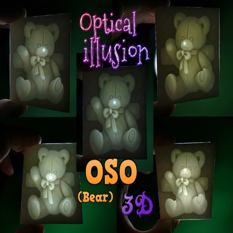 Free BEAR 3D OPTICAL ILLUSION (optical illusion) 3D printer file, 3dlito