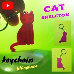Download 3D print files keychain cat litofania skeleton, 3dlito