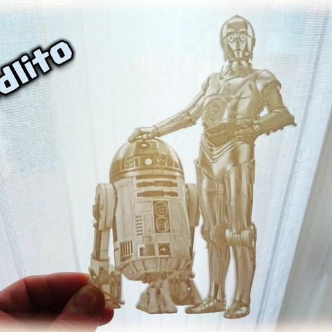 Free 3d print files Lithophane R2D2 AND C3PO, 3dlito