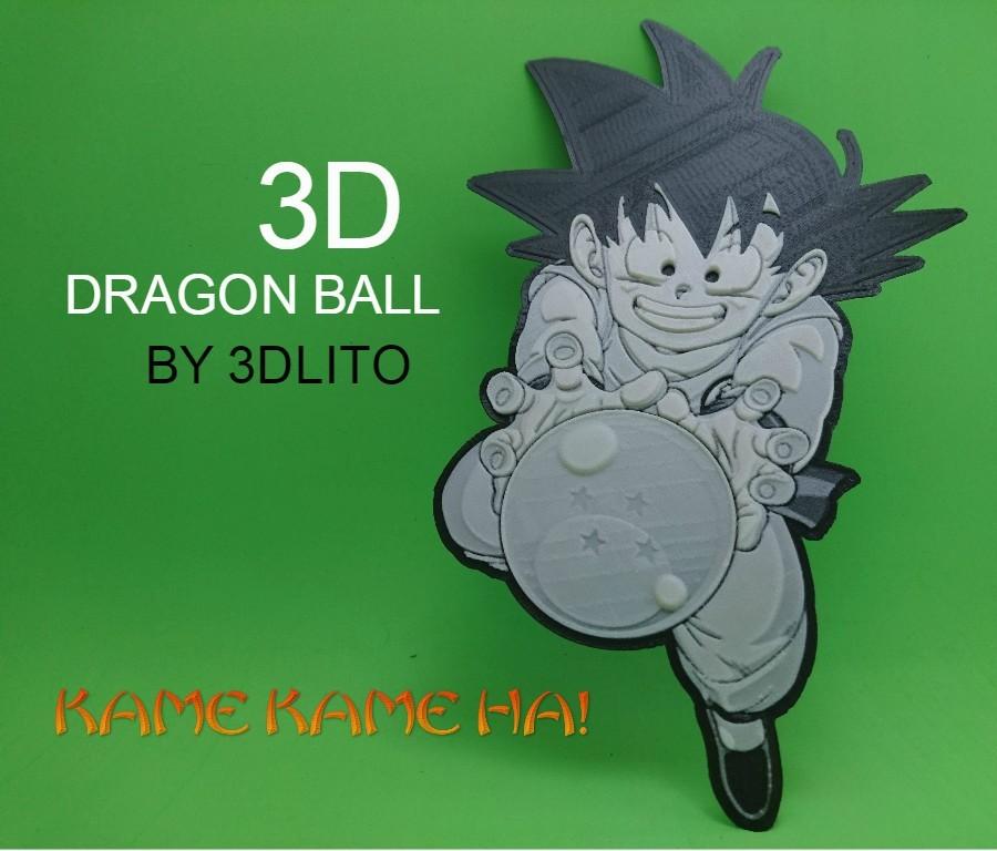 KAME KAME.jpg Télécharger fichier STL gratuit Son dessin 3D Goku (Dragonball) • Plan imprimable en 3D, 3dlito