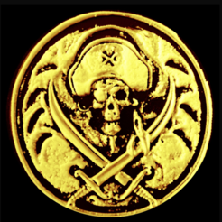 Free 3d printer designs SKULL PIRATE COIN 3D RELIEF, 3dlito