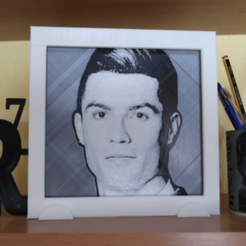 Free stl 3D drawing Cristiano Ronaldo cr7 with frame, 3dlito