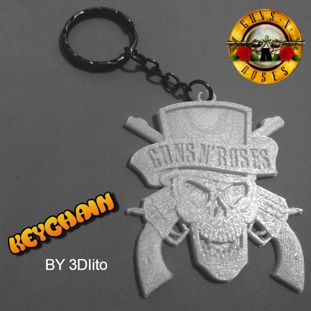 gunsss.jpg Download free STL file Guns N 'Roses Keychain • 3D printing model, 3dlito