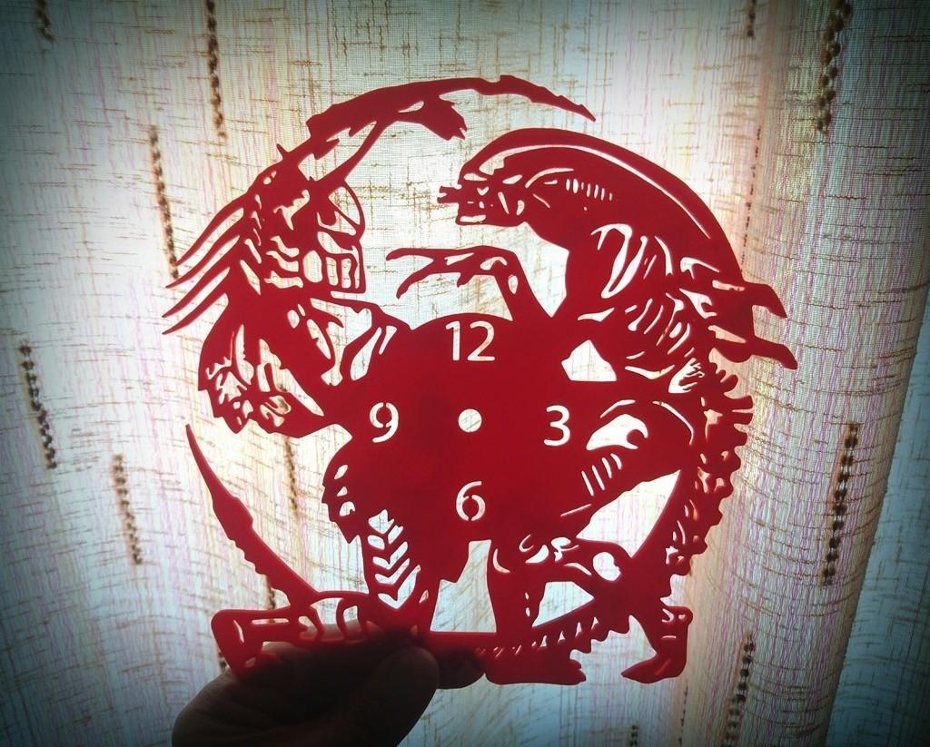 4b8b729aadd804ce1fad6208d7ac710d_display_large.jpg Download free STL file Reloj Alien vs. Predator • 3D print design, 3dlito