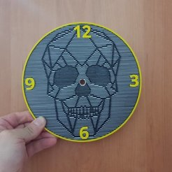 Free 3D printer designs skull wall clock, 3dlito