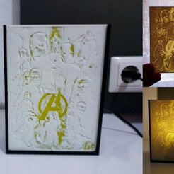 Free 3D printer designs Lithophane Avengers, 3dlito