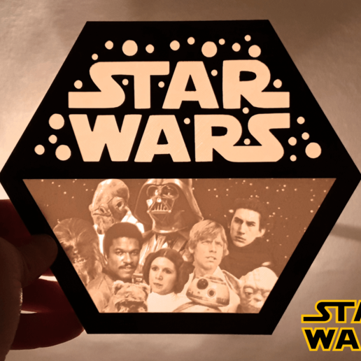 Télécharger plan imprimante 3D gatuit Logo STAR WARS lithophane, 3dlito