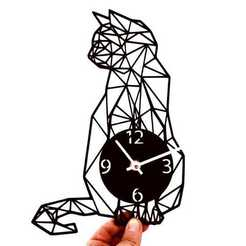 Download 3D printer designs Clock geometric cat, 3dlito