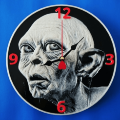 Download free STL Gollum 3D clock, 3dlito