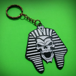 Free keychain Pharaoh Skull 3D printer file, 3dlito