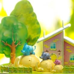 Download free 3D printing models Elephant box child and mother, zirenspar