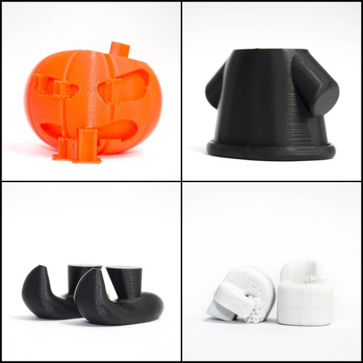Download free STL file Pumpkin Wizard & Spider Figure • 3D printer object, zirenspar