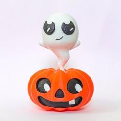 Free STL files Pumpkin Ghost Figure, zirenspar