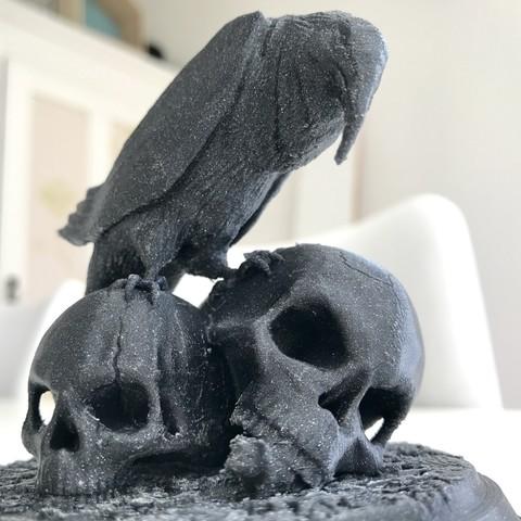 Free 3D print files Raven with Skulls, jimmyselgen