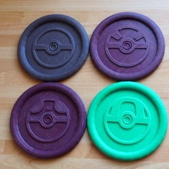Free 3D printer designs Pokemon Pokeball Coasters, HD3DP
