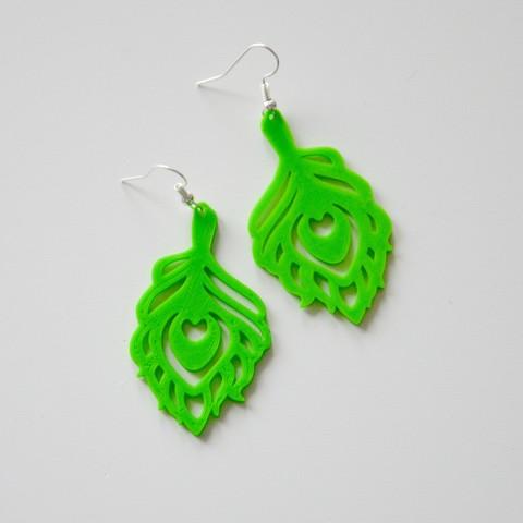Descargar diseños 3D gratis Peacock earings, LordTailor