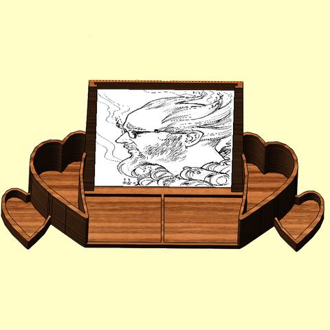 porte photo2.png Télécharger fichier STL porte photo, porte crayon coeur • Design pour impression 3D, kholas
