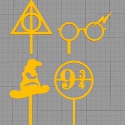 mini topper hp.jpg Télécharger fichier STL La garniture de cupcake a servi à Harry Potter • Design pour impression 3D, Chapu