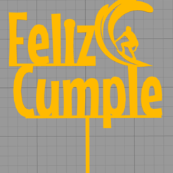 Download 3D printing designs Topper Happy Birthday Surfing Cake, Chapu