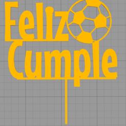 Download 3D printer model Topper Happy Birthday Football, Chapu