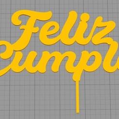 Feliz cumple.jpg Télécharger fichier STL Topper Happy Birthday • Modèle à imprimer en 3D, Chapu