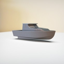 "resin Models scene 1.344.jpg Download STL file SIMPLE CABIN CRUISER BOAT ""Custom name"" • 3D printing model, guaro3d"