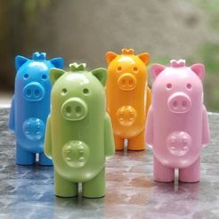 Download free STL file Peer Pig (toy pig with udders and crown) • 3D printable design, llaffa