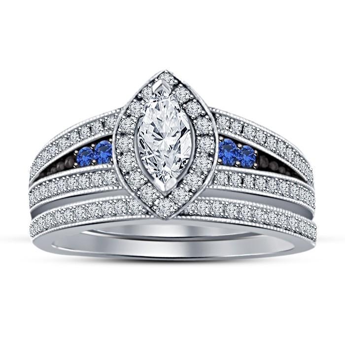 RG25659.JPG Download STL file 3D Jewelry CAD File Wedding Bridal Ring Set • 3D printer model, VR3D