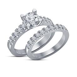 Download 3D printer designs 3D Jewelry CAD File Wedding Bridal Ring Set, VR3D