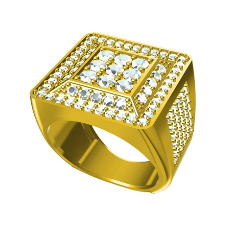 Download free 3D printer templates Jewelry 3D CAD File Of Gents Ring, VR3D
