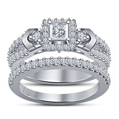 Download 3D printing files Beautiful 3D Jewelry CAD Model For Bridal Ring Set, VR3D