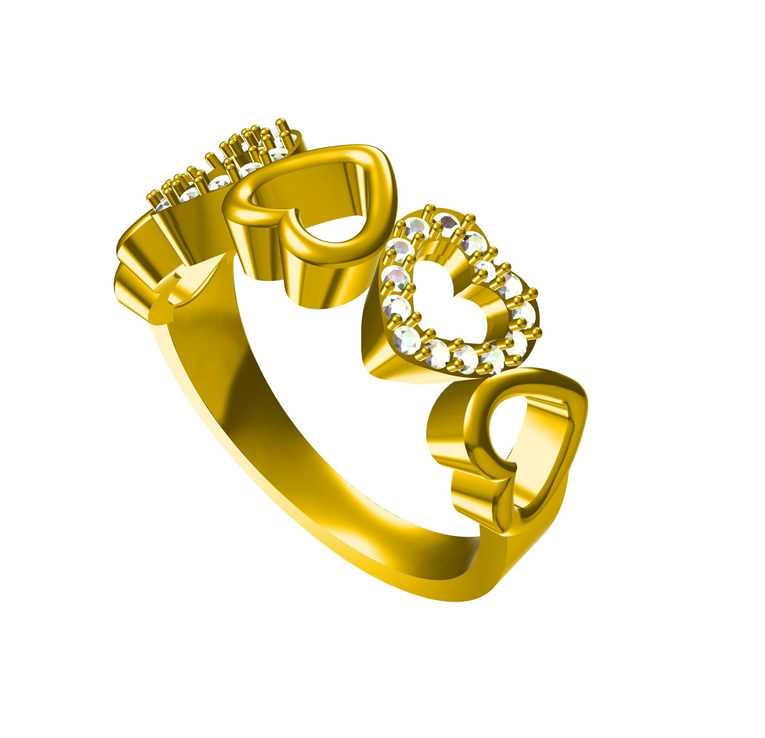 hert.jpg Download STL file 3D CAD Model For Beautiful Multi Heart Design Ring • 3D printer model, VR3D