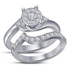 3d printer files 3D Jewelry CAD File For Wedding Bridal Ring Set, VR3D