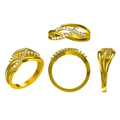 Download 3D printer designs Jewelry 3D CAD Model Of Wedding Ring, VR3D