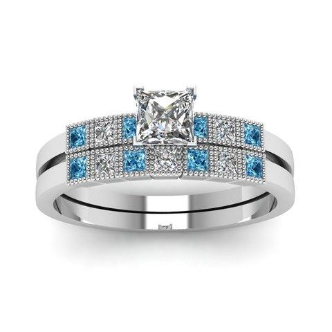 Download 3D printing designs Jewelry 3D CAD Model For Wedding Bridal Ring Set, VR3D