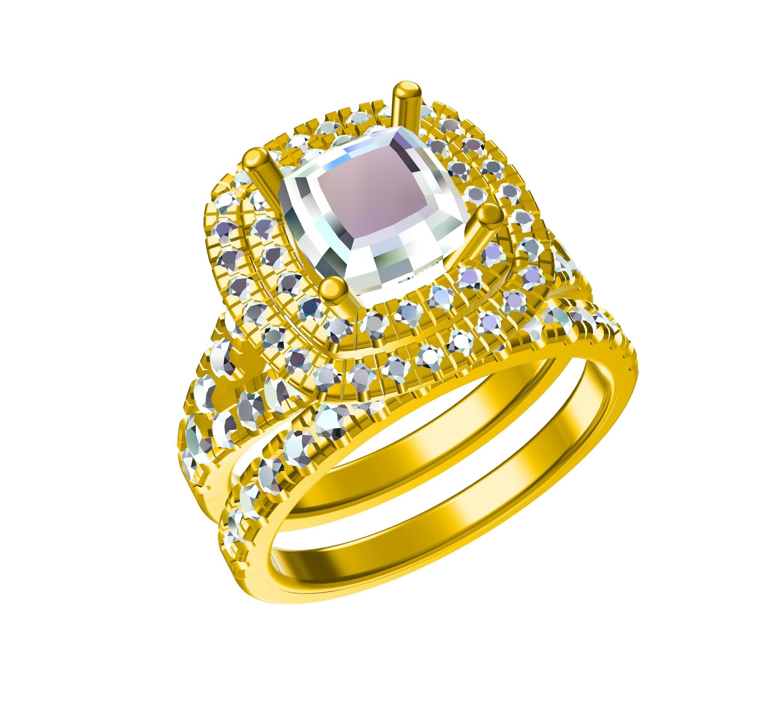 RG27326 (2).jpg Download STL file Exclusive Jewelry 3D CAD Model Of Bridal Ring Set • 3D printable template, VR3D