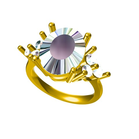RG27231.jpg Download STL file Jewelry 3D CAD Model Of Solitaire With Accents Ring • 3D printable design, VR3D