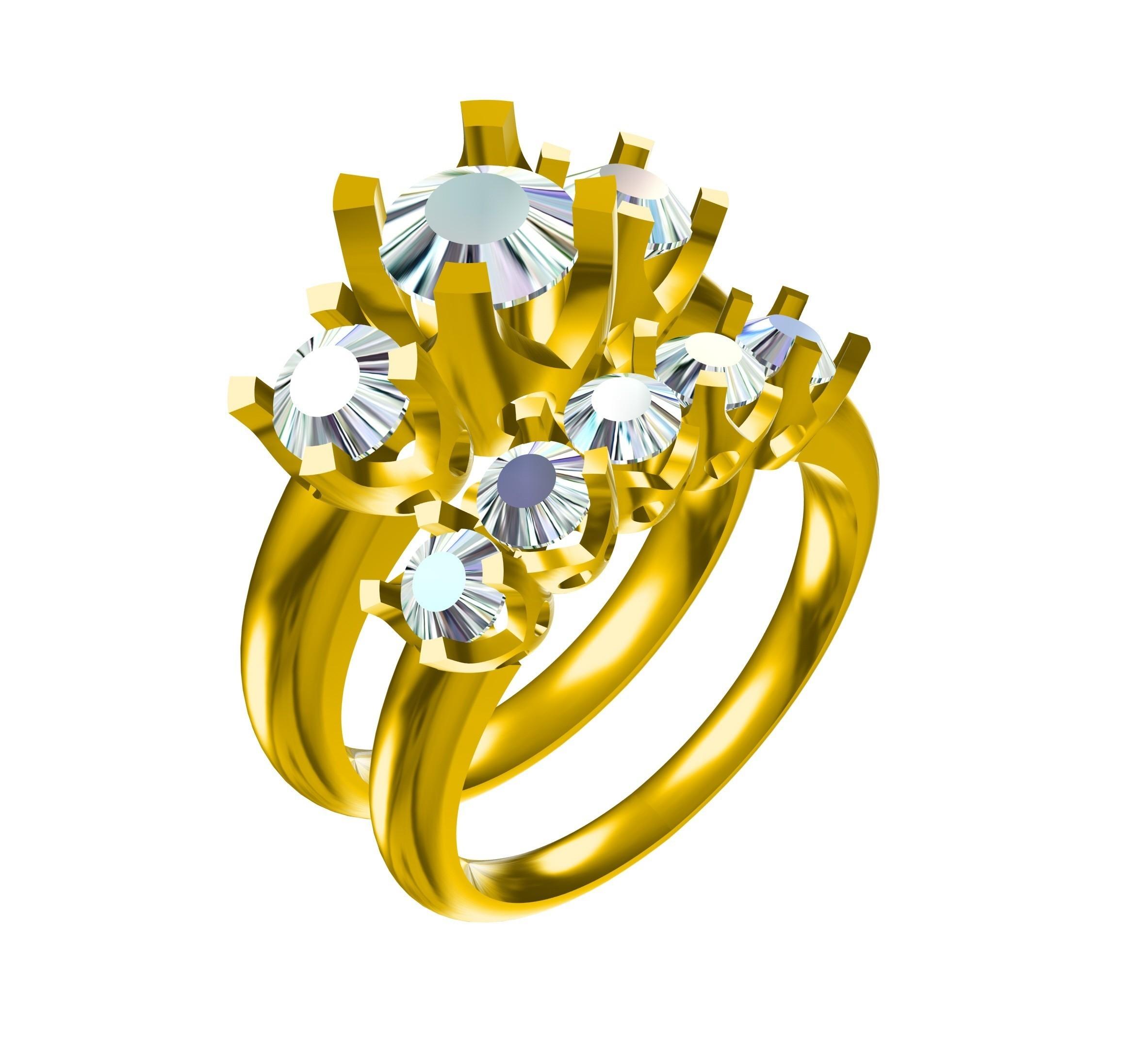 RG26416.jpg Download STL file 3D Jewelry CAD Model For Wedding Bridal Ring Set • 3D printer model, VR3D