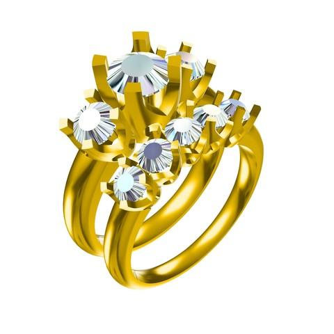Download 3D printing designs 3D Jewelry CAD Model For Wedding Bridal Ring Set, VR3D
