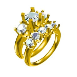 Download 3D printing designs 3D Jewelry CAD Model For Wedding Bridal Ring Set, VR3D