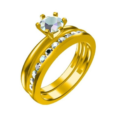 Free 3D printer model 3D CAD File For Jewelry Bridal Ring Set, VR3D
