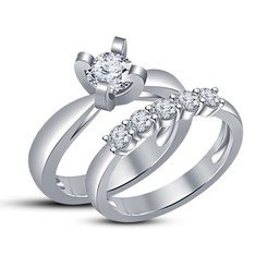 3D print model 3D Jewelry CAD File Wedding Bridal Ring Set, VR3D