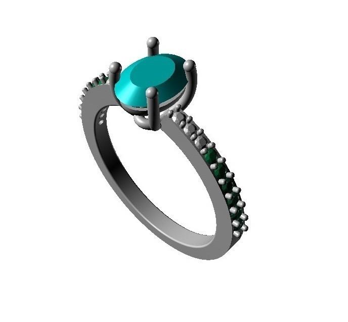 oveal.jpg Télécharger fichier STL gratuit Bijoux 3D CAD Modèle de Solitaire Avec Accents Ring • Modèle pour imprimante 3D, VR3D