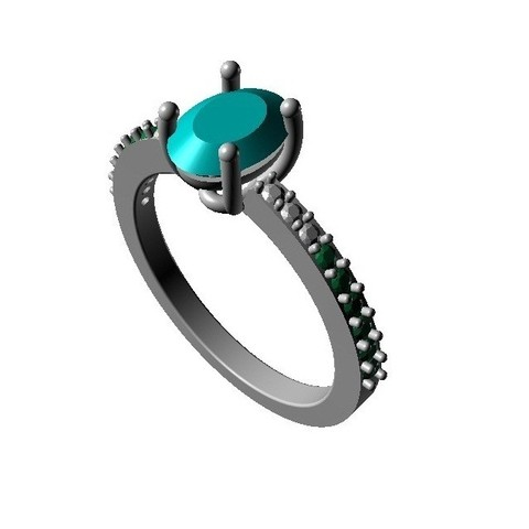 Free 3d model Jewelry 3D CAD Model Of Solitaire With Accents Ring, VR3D