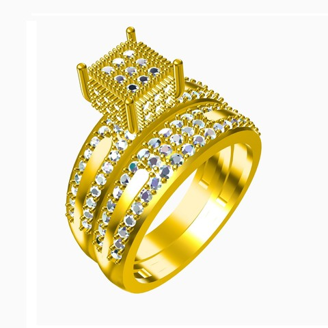 Download STL file 3D Jewelry CAD File Wedding Bridal Ring Set • 3D printer model, VR3D