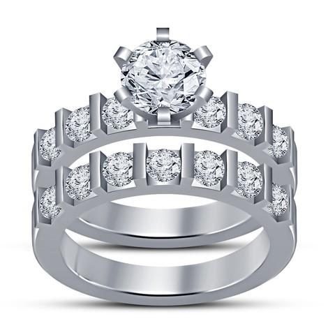 Download STL 3D CAD Design Wedding Bridal Ring Set, VR3D