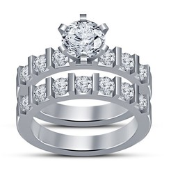 Download STL 3D CAD Design Wedding Bridal Ring Set, VR3D