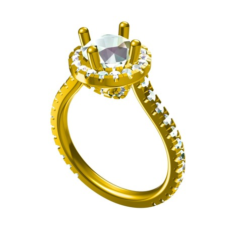 Download 3D printing files 3D Jewelry CAD Model For Classic Design Solitaire With Accents Ring, VR3D