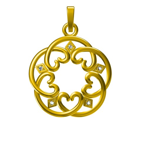 PD25151 - Copy.jpg Download STL file Jewelry 3D CAD Model For Heart Design Pendant • Design to 3D print, VR3D